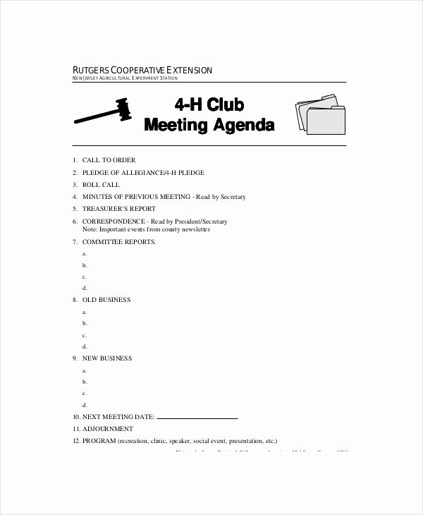 Club Meeting Minutes Template Fresh Club Meeting Agenda Template 7 Free Word Pdf Documents Download