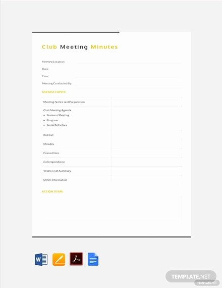 Club Meeting Minutes Template Luxury 88 Free Meeting Minutes Templates Download Ready Made