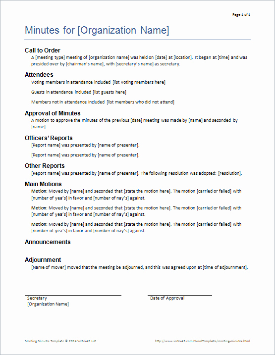 Club Meeting Minutes Template New Download the formal Meeting Minutes Template From Vertex42
