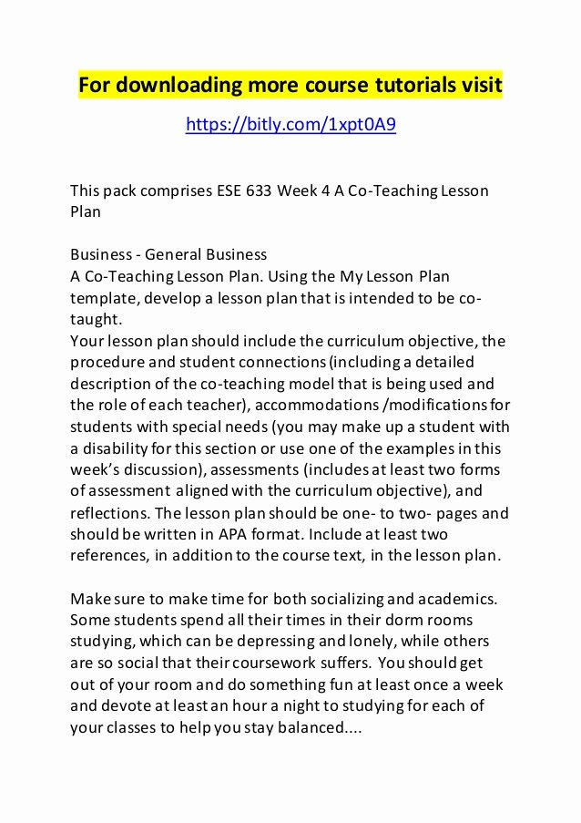 Co Teaching Lesson Plan Template Inspirational Ese 633 Week 4 A Co Teaching Lesson Plan