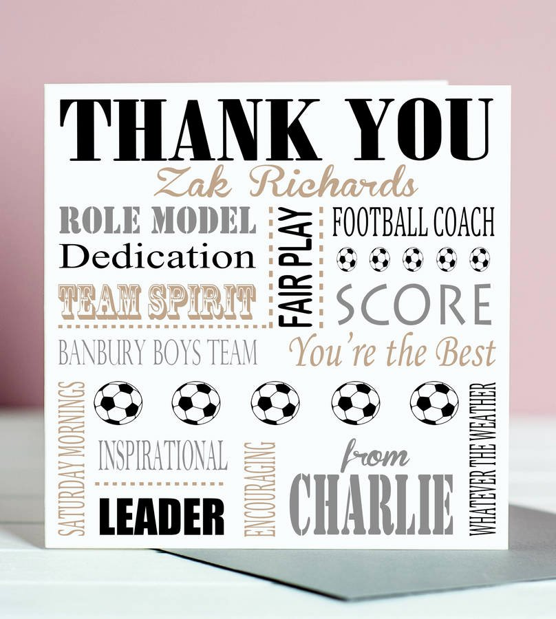 Coach Thank You Cards Beautiful Thank You Football Coach Card by Lisa Marie Designs