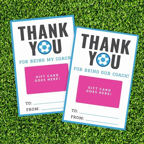 Coach Thank You Cards Elegant soccer Coach Gift Card Holder Printable Thank You Gift Card