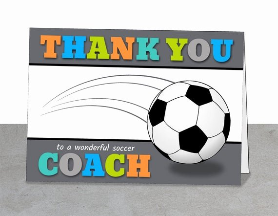 Coach Thank You Cards Inspirational Printable Team Thank You Card for soccer Coach Instant