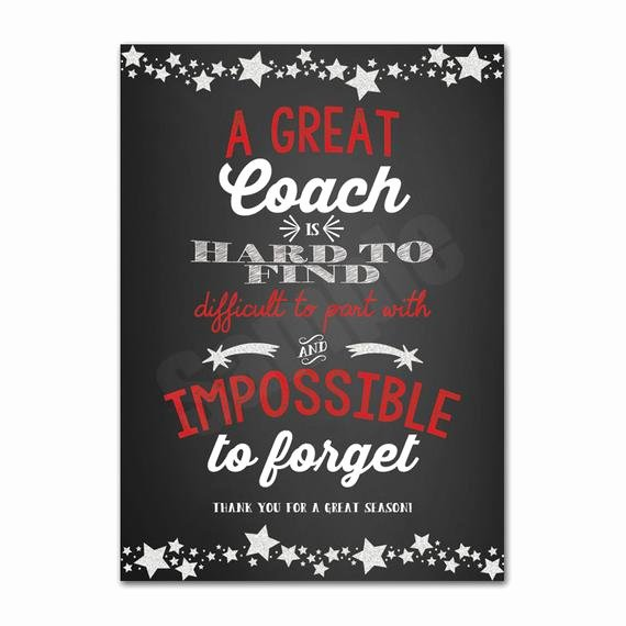 Coach Thank You Cards Luxury Coach Appreciation Thank You Card Printable Instant Download