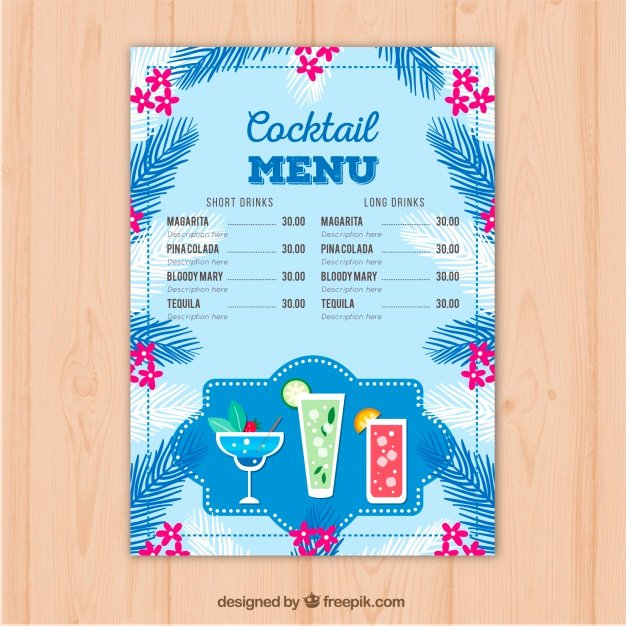 Cocktail Menu Template Free Awesome Blue Cocktail Menu Template Vector