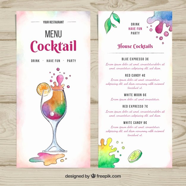 Cocktail Menu Template Free Awesome Summer Cocktail Menu Template Vector