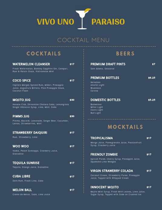 Cocktail Menu Template Free Beautiful Minimal Cocktail Menu Template