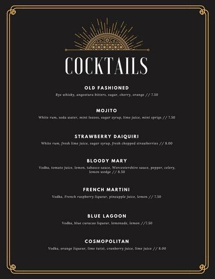 cocktail menu template 3085