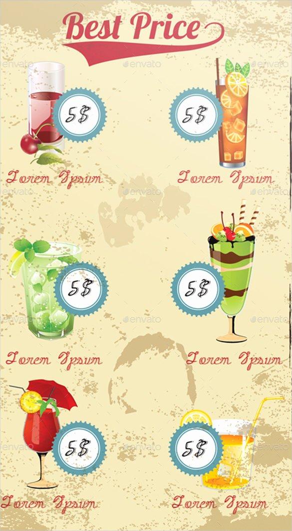 Cocktail Menu Template Free Elegant 29 Cocktail Menu Templates – Free Sample Example format Download