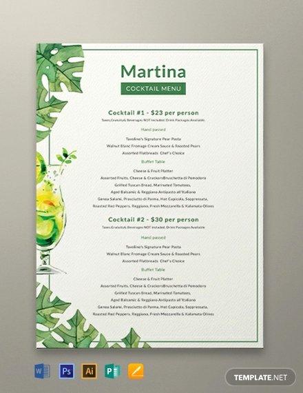 Cocktail Menu Template Free Elegant Free Pizza Menu Template Download 144 Menus In Psd Word Publisher Indesign Illustrator