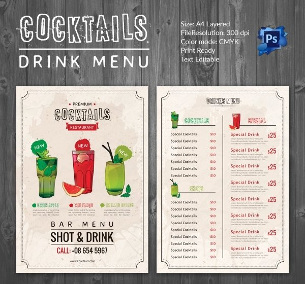 Cocktail Menu Template Free Fresh Drink Menu Template – 25 Free Psd Eps Documents Download