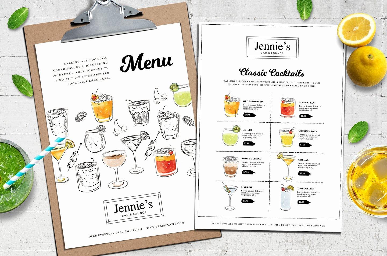 Cocktail Menu Template Free Inspirational Cocktail Menu Template Vol 3 Flyer Templates Creative Market