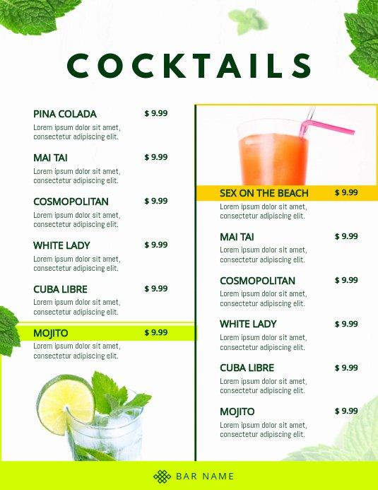 Cocktail Menu Template Free Inspirational Copy Of Classic Cocktail Menu Template