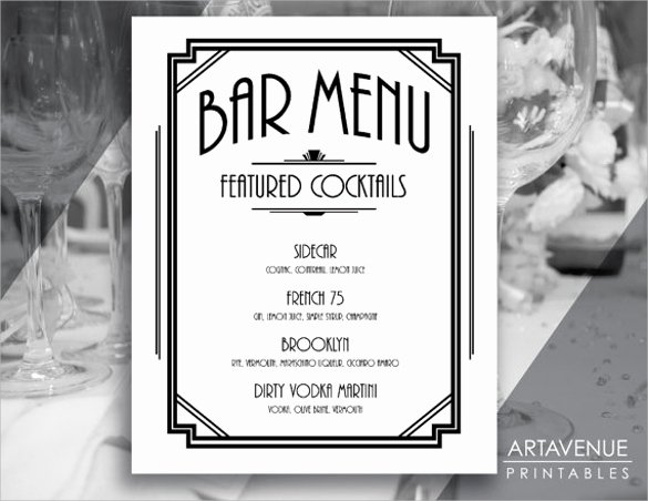 Cocktail Menu Template Free Inspirational Free 30 Bar Menus Templates In Illustrator Ms Word Pages Shop