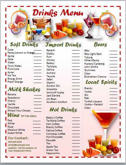 Cocktail Menu Template Free Inspirational Free Word Templates Cocktail Menu Template