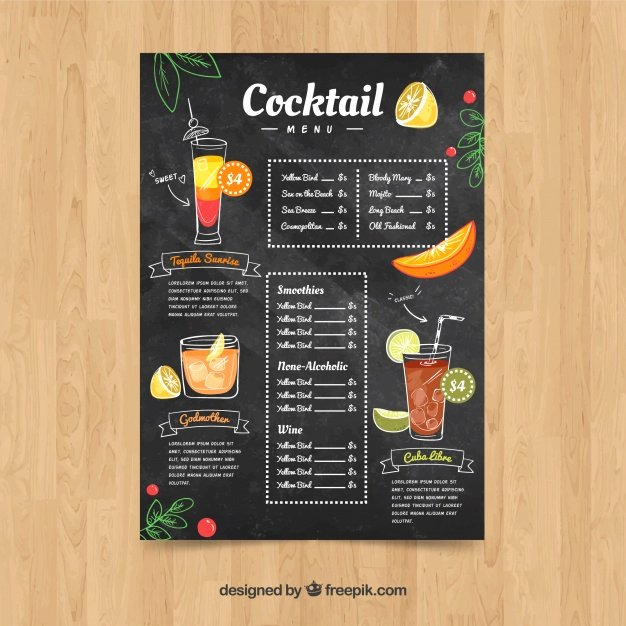 Cocktail Menu Template Free Inspirational Menus Vectors S and Psd Files