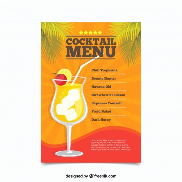 Cocktail Menu Template Free Lovely Cocktail Menu Template In Flat Design Vector