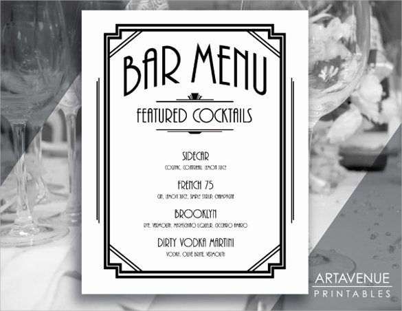 Cocktail Menu Template Free Lovely Cocktail Menu Template