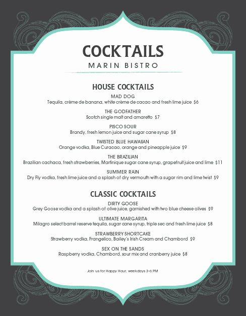 Cocktail Menu Template Free New Frozen Cocktail Menu