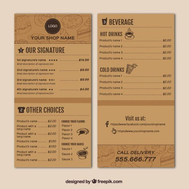 Coffee Shop Menu Template Awesome Coffee Shop Menu Template Vector