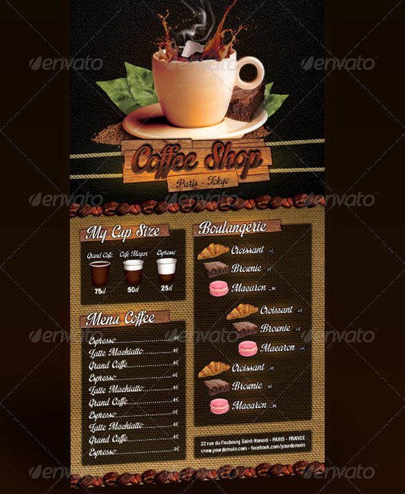 Coffee Shop Menu Template Beautiful 51 Restaurant Menu Templates Design Psd Docs Pages