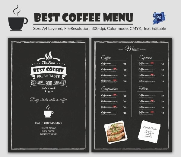 Coffee Shop Menu Template Beautiful Cafe Menu Template 40 Free Word Pdf Psd Eps Indesign format Download