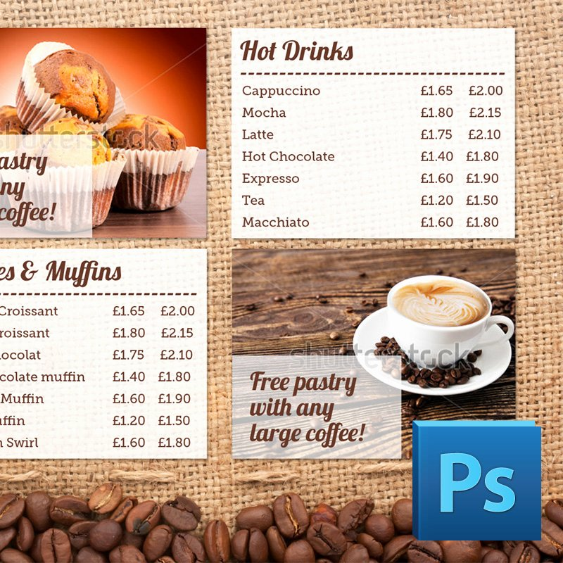 Coffee Shop Menu Template Best Of Coffee Shop Menu Board Psd Template
