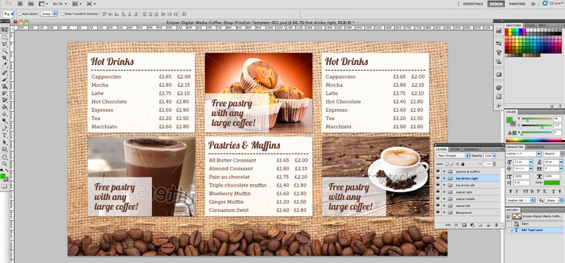 Coffee Shop Menu Template Elegant Coffee Shop Menu Board Psd Template