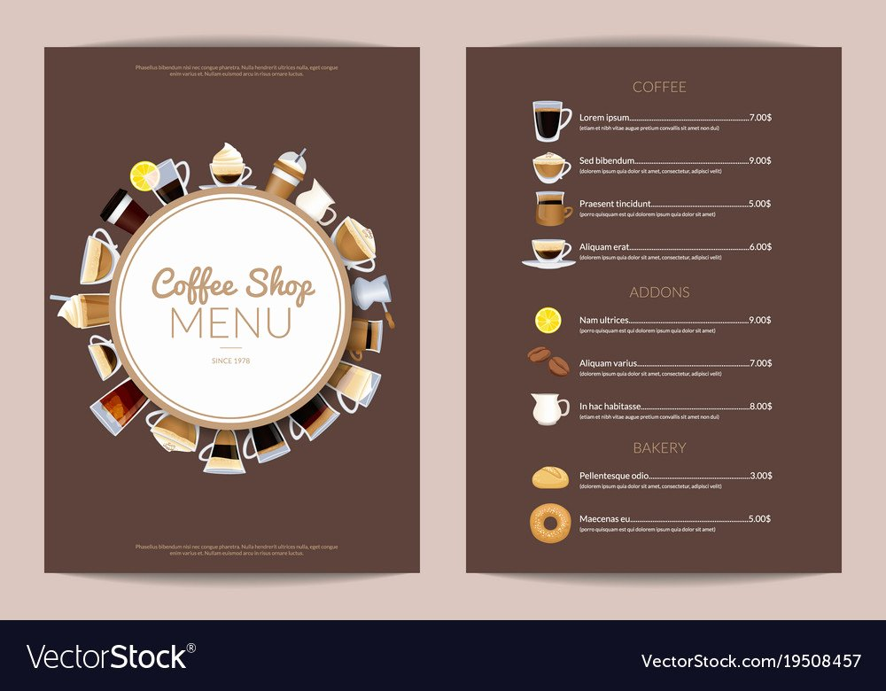 Coffee Shop Menu Template Inspirational Coffee Shop Vertical Menu Template Royalty Free Vector Image