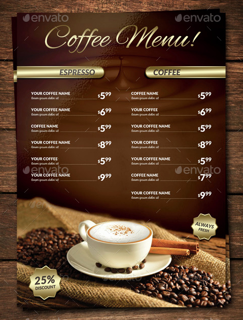 Coffee Shop Menu Template Lovely 15 Coffee Shop Menu Designs & Templates Psd Indesign