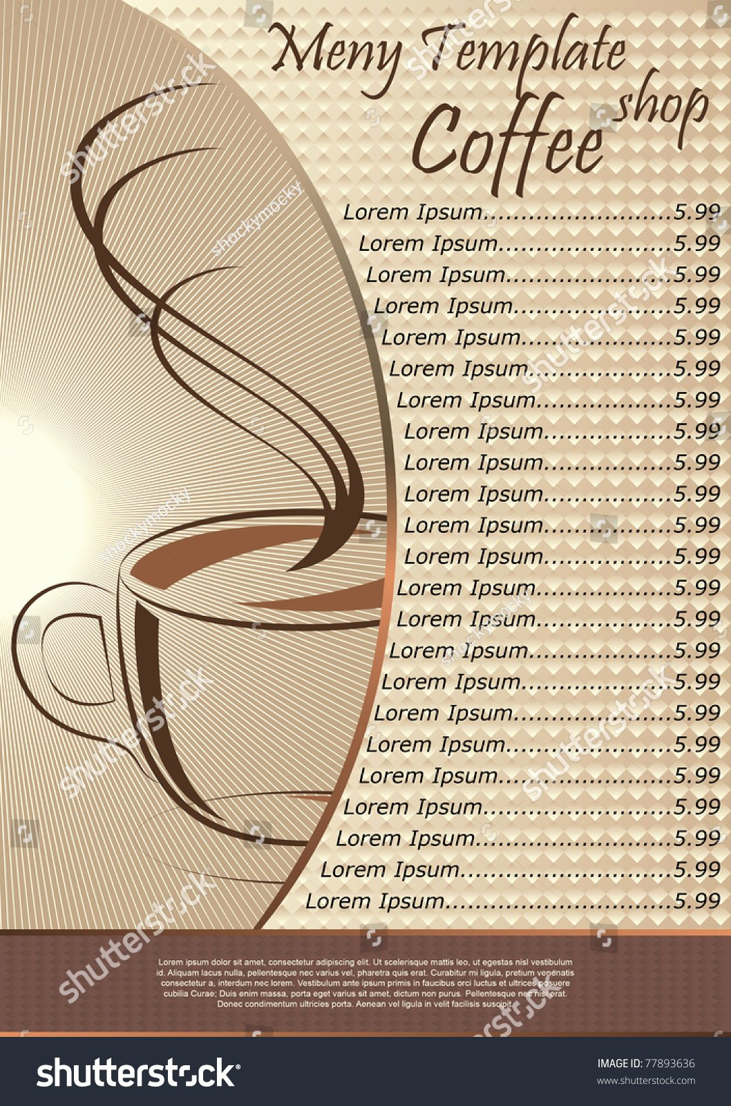 Coffee Shop Menu Template Luxury Coffee Shop Menu Template Vector Illustration Shutterstock