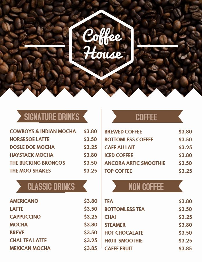 Coffee Shop Menu Template New 9 Menu Templates You Can Customize Right now
