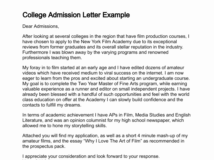 College Acceptance Letter Sample Elegant Letter Of Admission