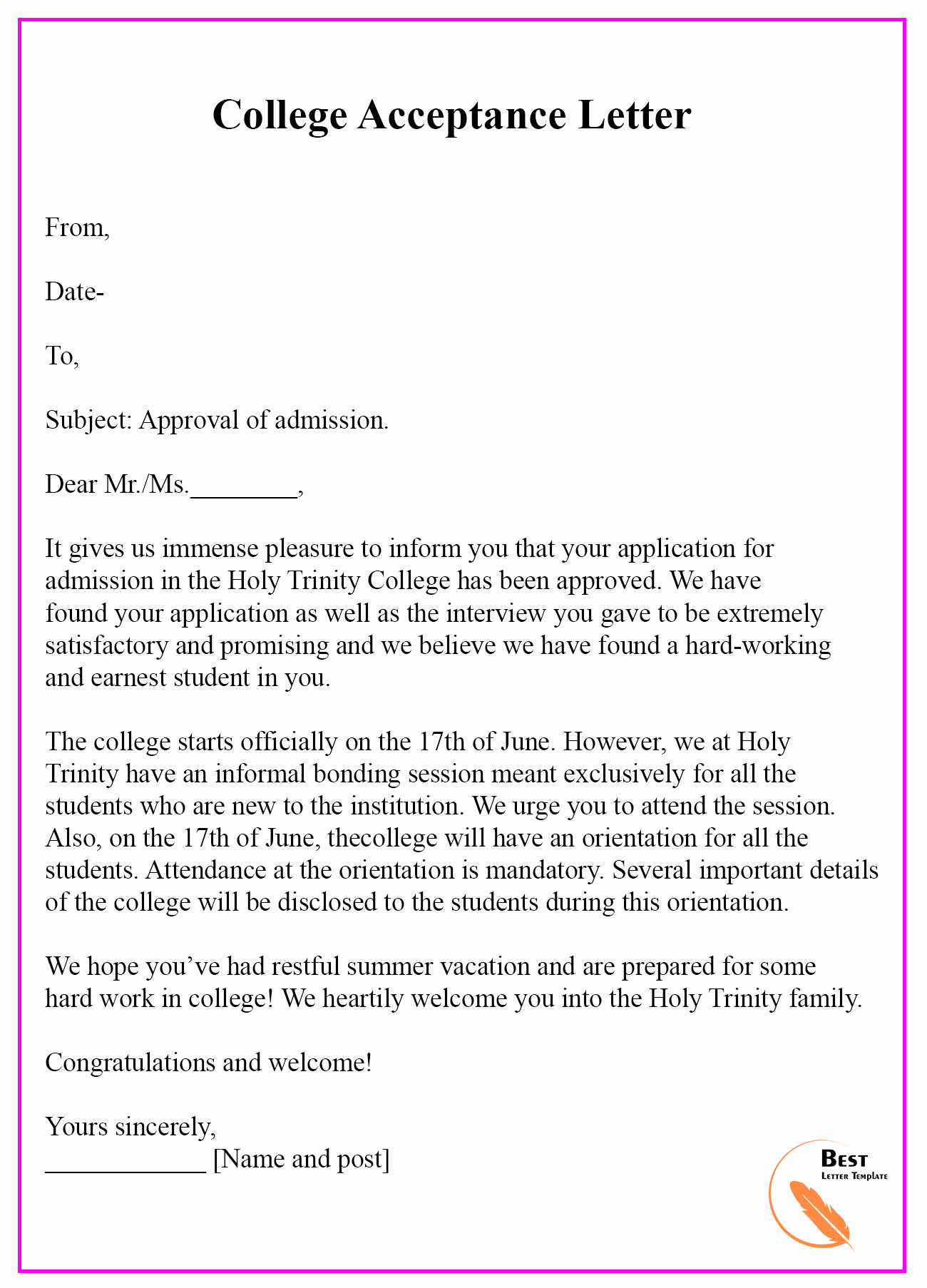 College Acceptance Letter Sample Fresh 7 School College University Acceptance Letter Template [examples & Sample]