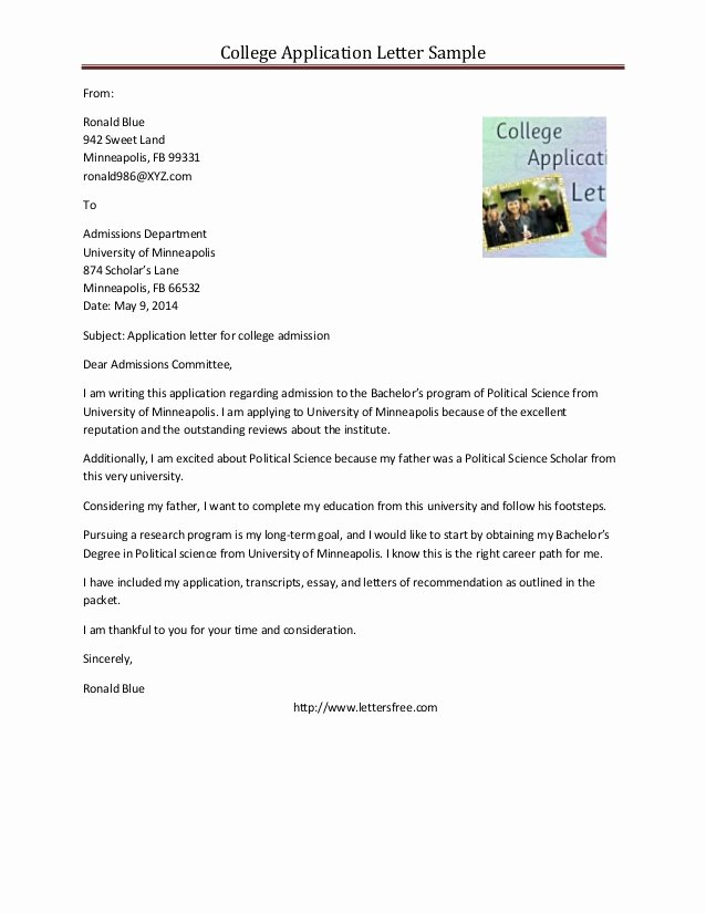 College Acceptance Letter Sample Inspirational Sample College Application Letter