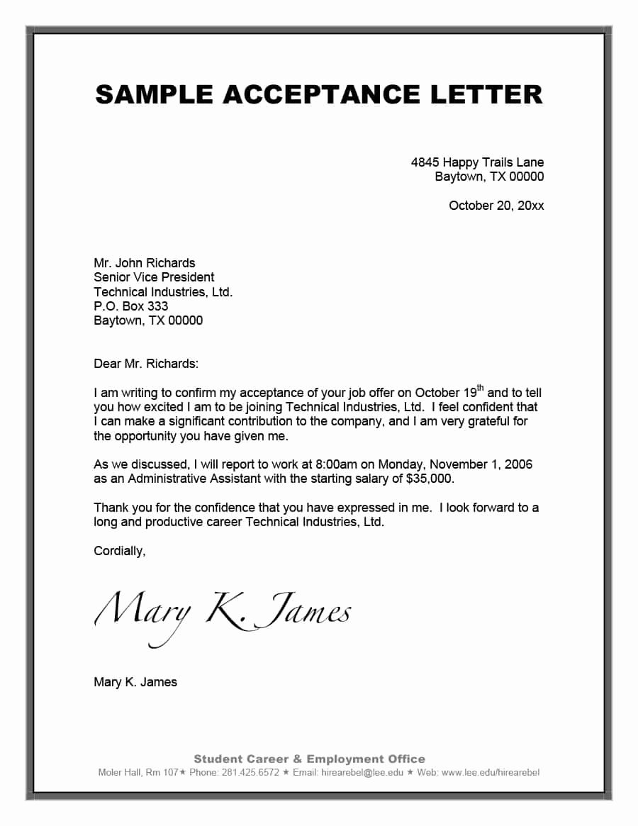 College Acceptance Letter Sample New 10 Example Of Letter Of Acceptance