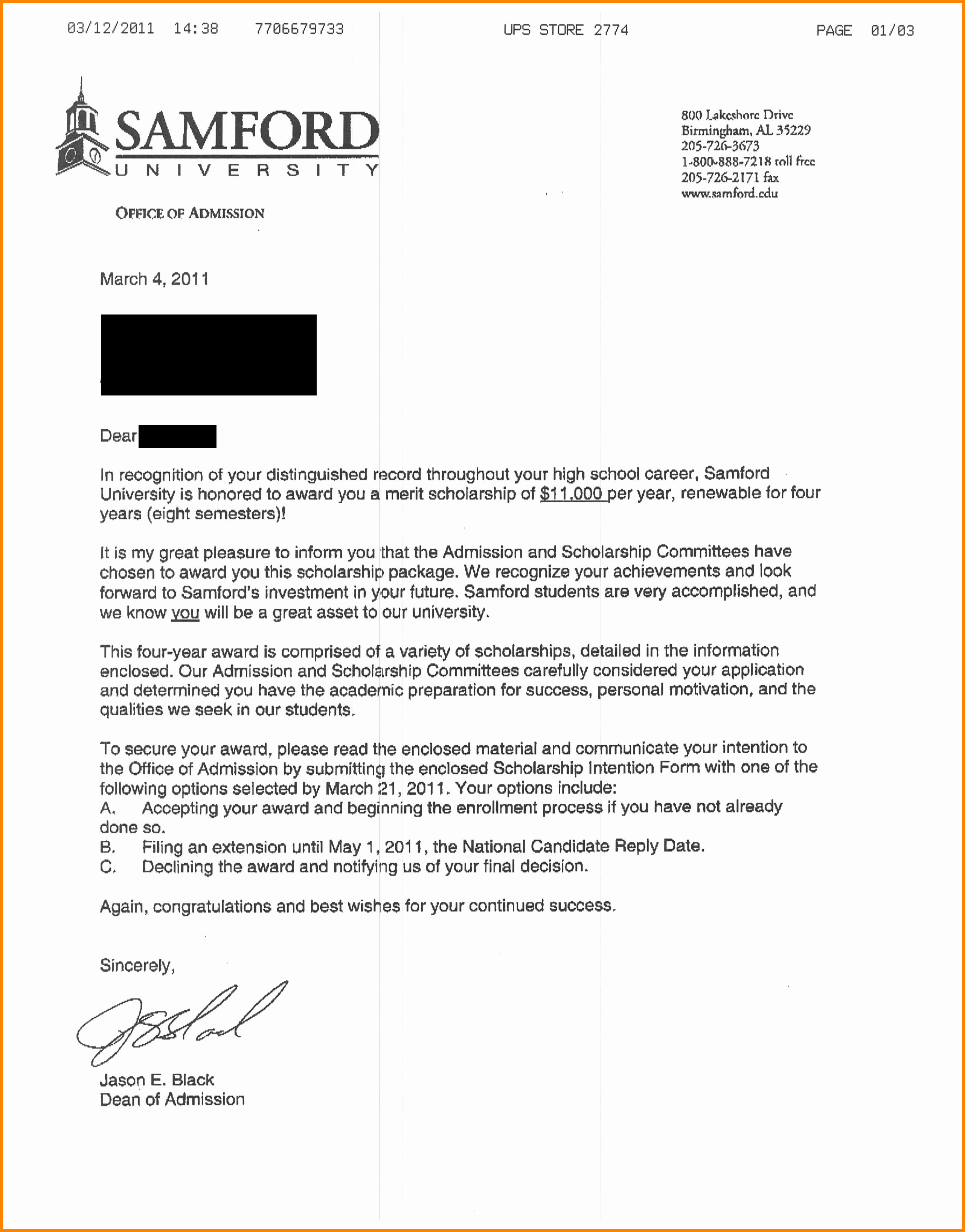 College Acceptance Letter Sample New 6 College Acceptance Letter Sample