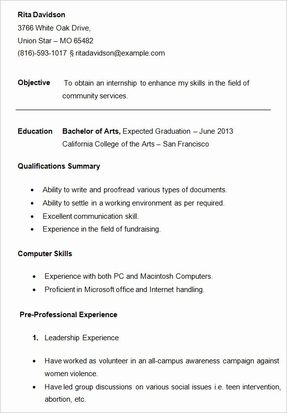 College Freshman Resume Template Beautiful 24 Best Student Sample Resume Templates Wisestep