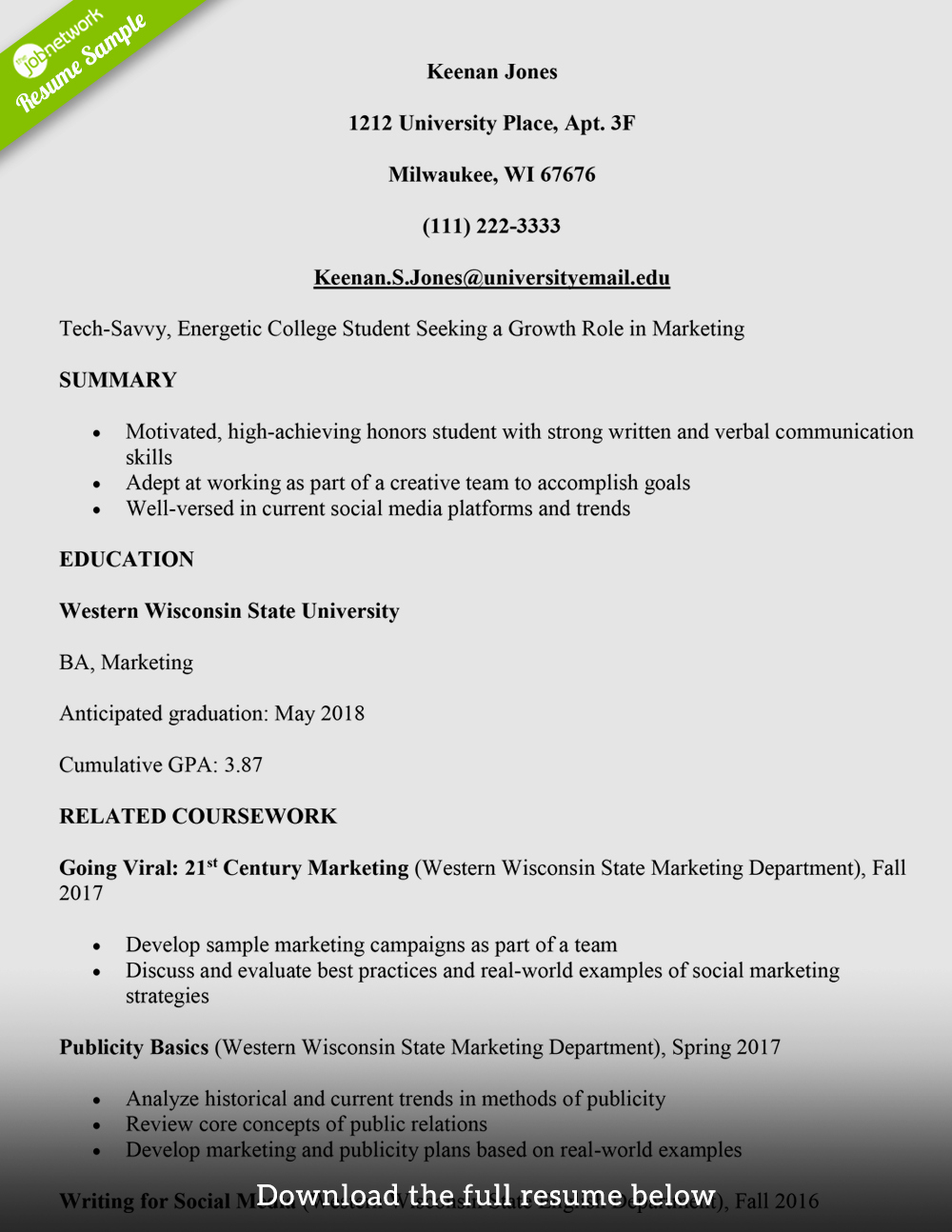 College Freshman Resume Template Beautiful How to Write A College Student Resume with Examples