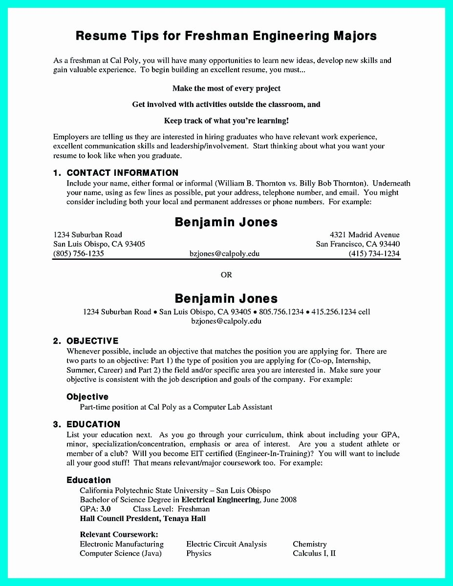 College Freshman Resume Template Elegant Pin On Resume Template