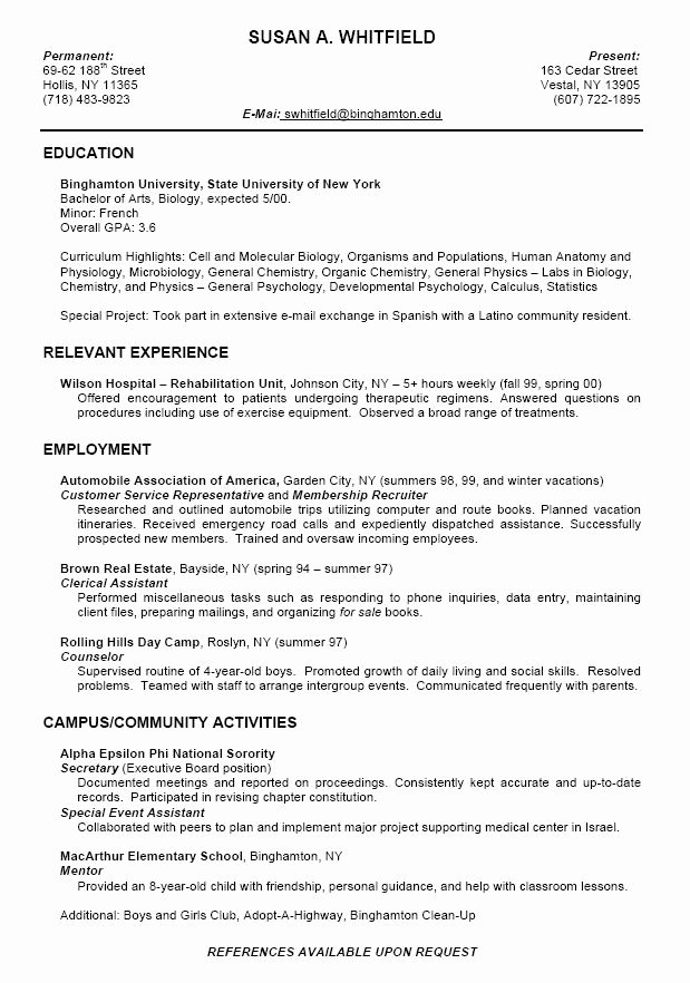 College Freshman Resume Template Fresh College Resume format for High School Students College Student Resume