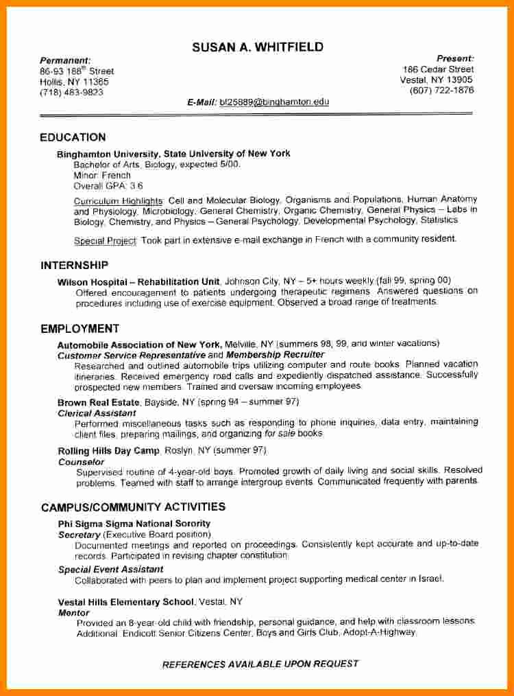 College Freshman Resume Template Inspirational 8 Cv Template for College Students
