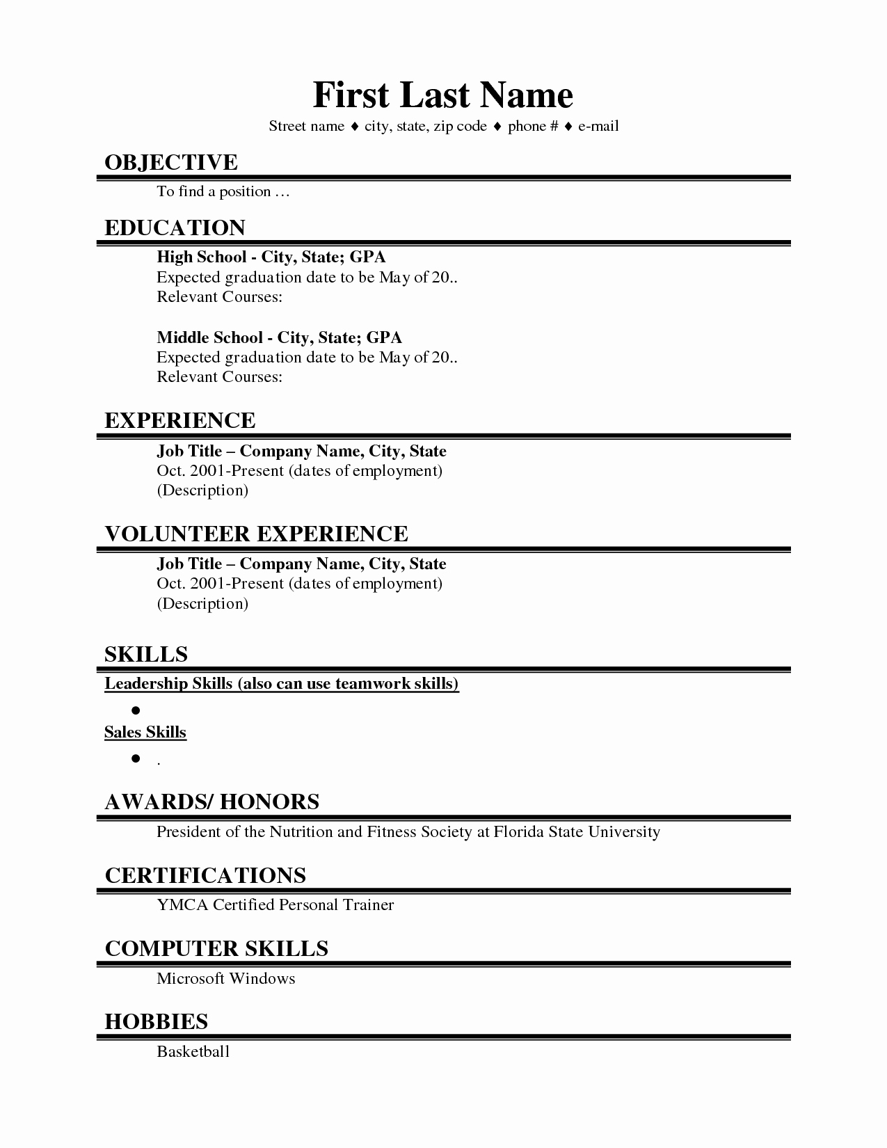 College Freshman Resume Template Inspirational College Student Resume Template Microsoft Word