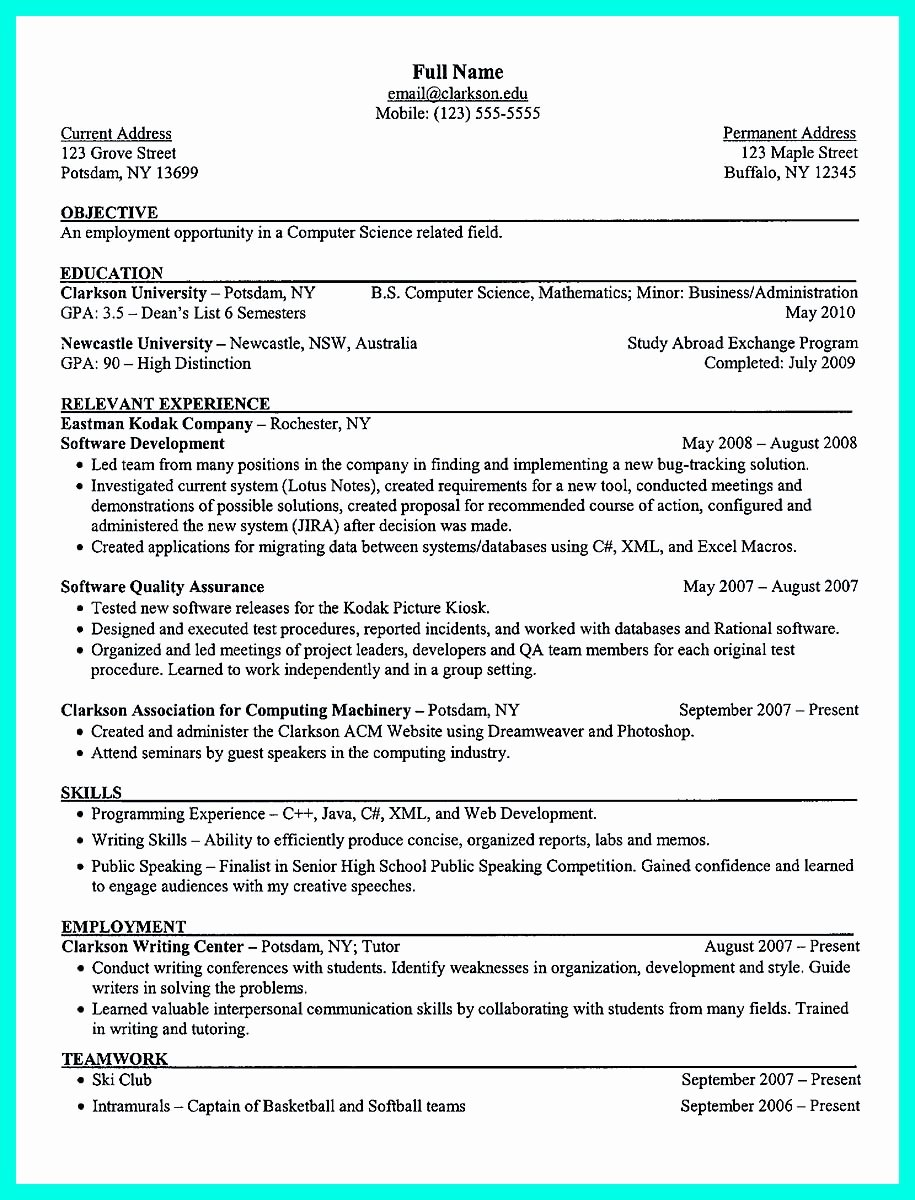 College Freshman Resume Template Inspirational the Perfect College Resume Template to Get A Job