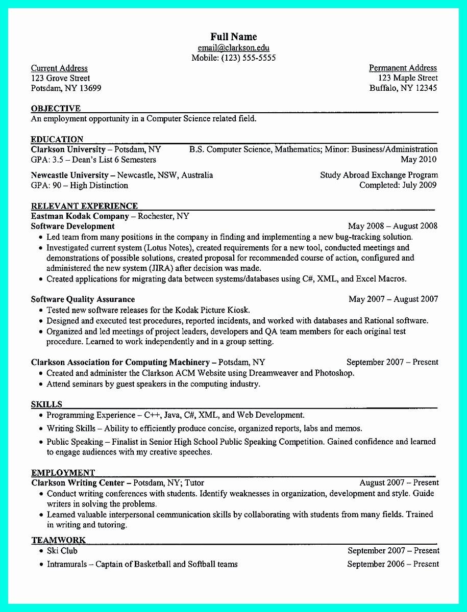 College Freshman Resume Template Inspirational the Perfect College Resume Template to Get A Job
