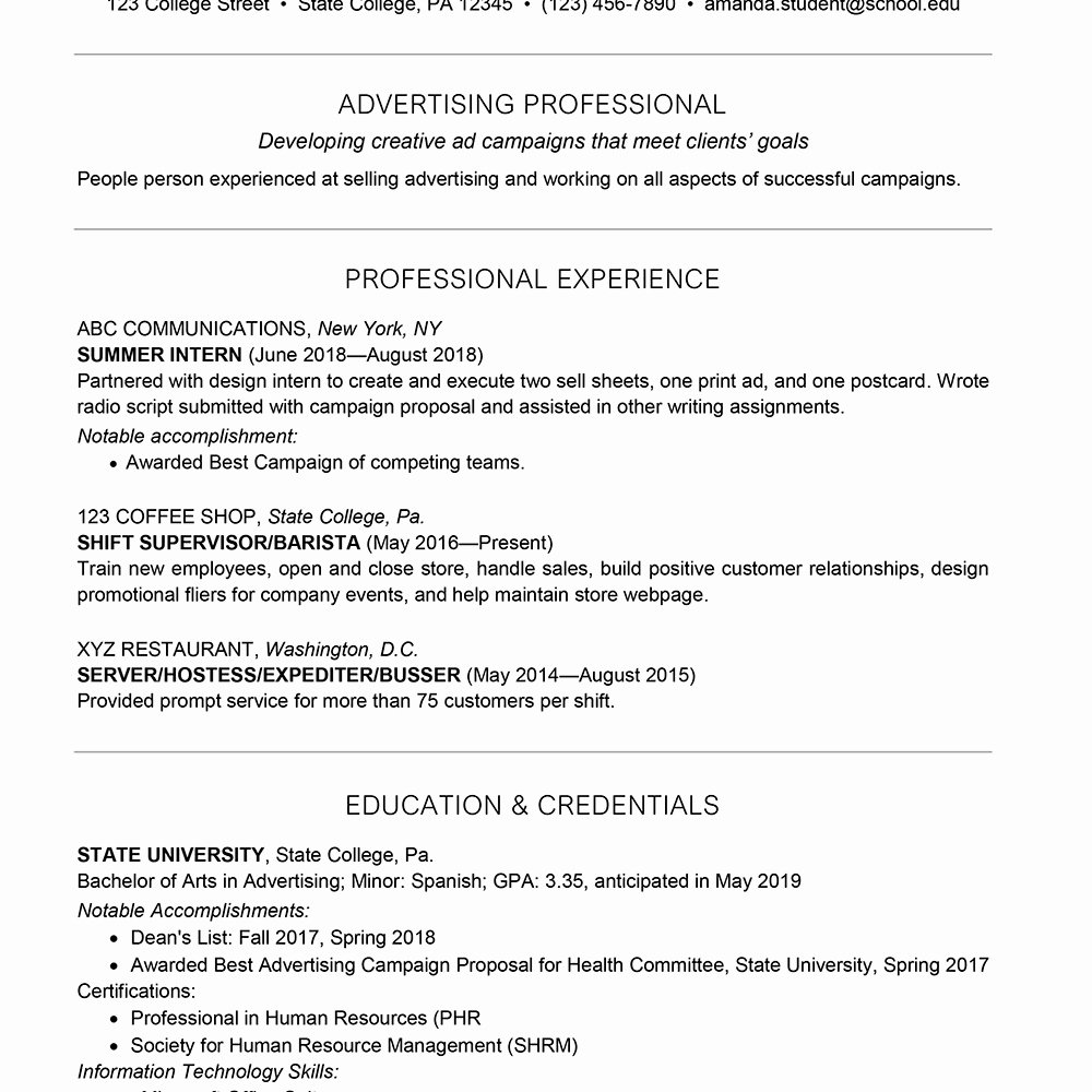 College Freshman Resume Template Lovely Sample College Freshman Resume