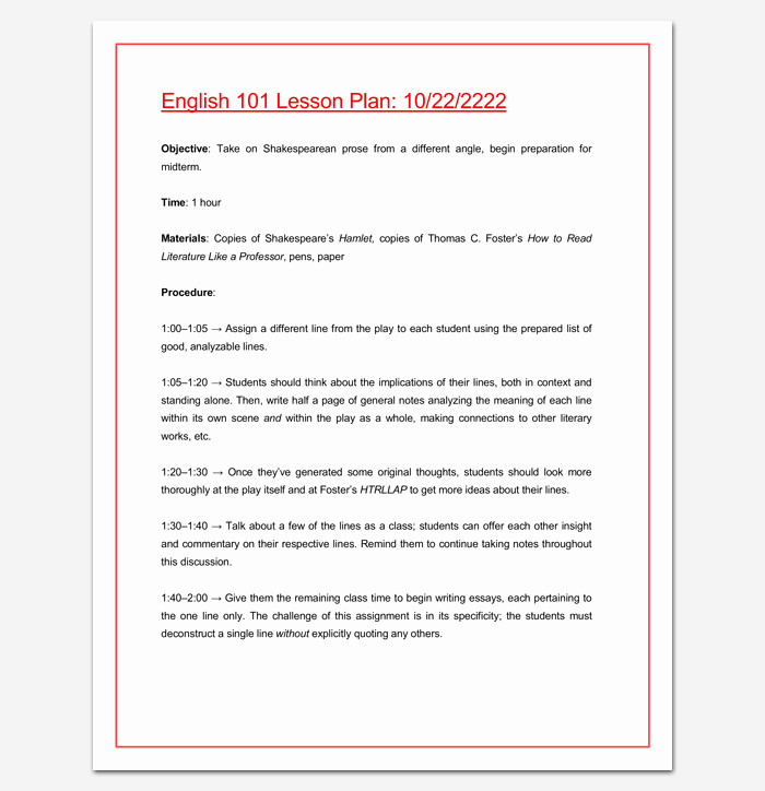 College Lesson Plan Template Beautiful Lesson Plan Outline Template 23 Examples formats and Samples
