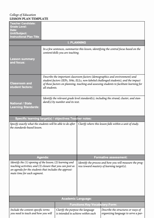 College Lesson Plan Template New Lesson Plan Template College Education Homework Market Printable Pdf