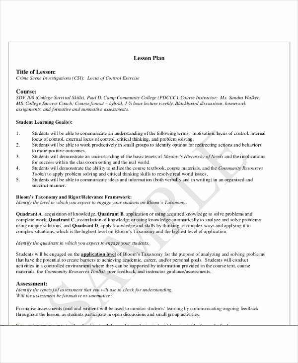 College Lesson Plan Templates Best Of 47 Lesson Plan Templates