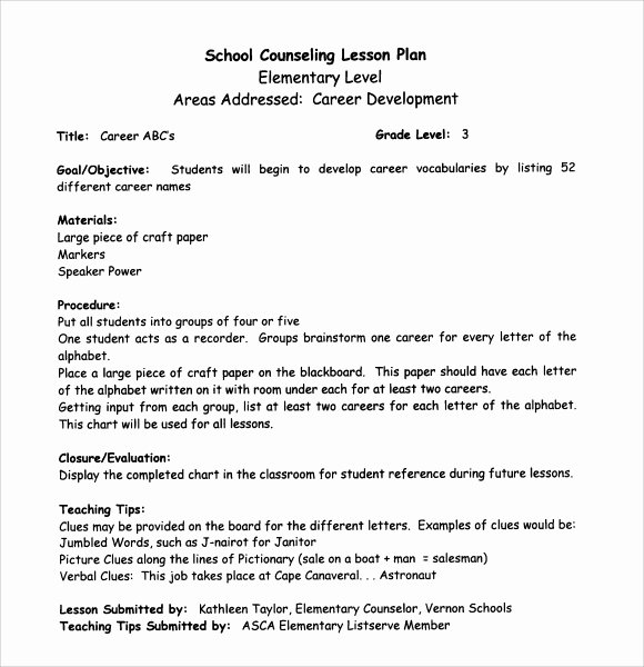 College Lesson Plan Templates Inspirational Sample Middle School Lesson Plan Template 7 Free